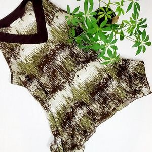 Dress Barn Sleeveless V-neck Top Green/Brown/Cream